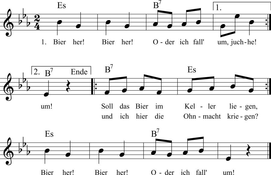 Musiknoten zum Lied Bier her!