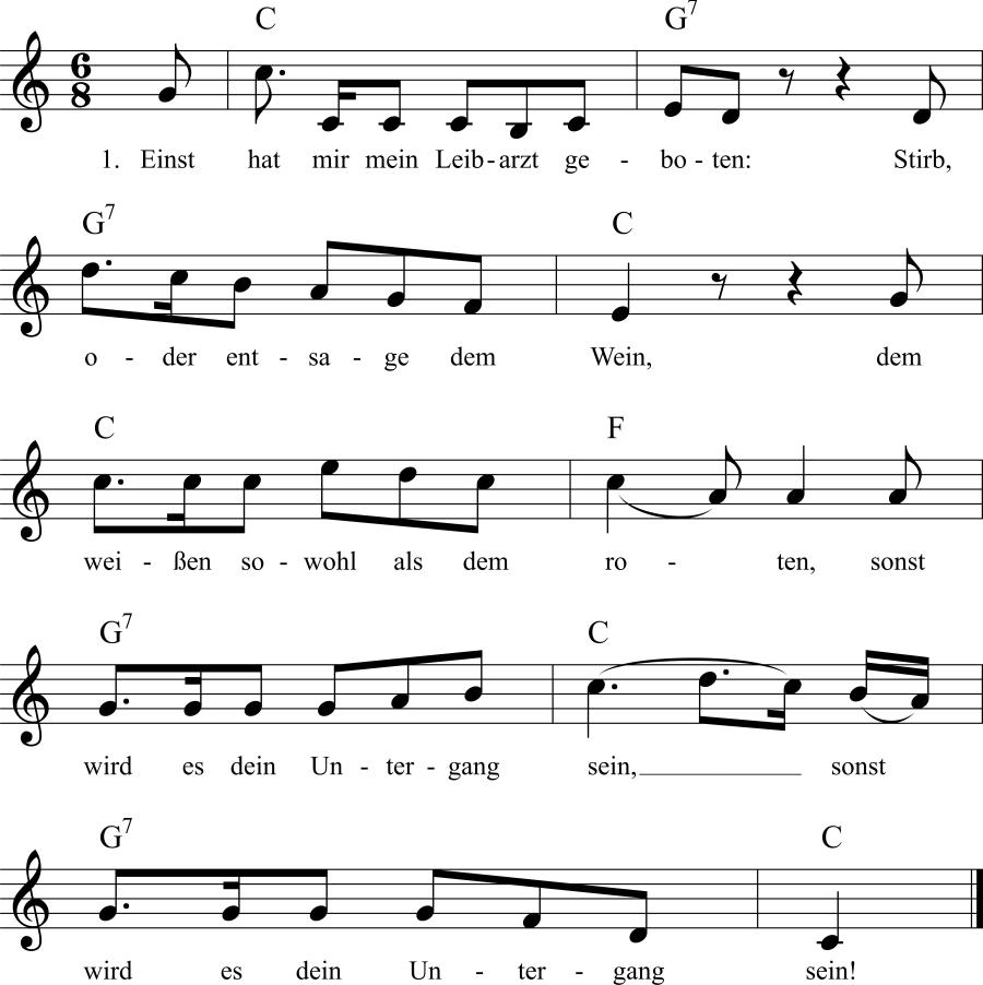 Musiknoten zum Lied Stirb, oder entsage dem Wein
