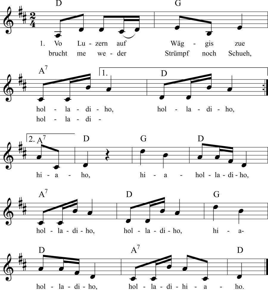 Musiknoten zum Lied Vo Luzern auf Wäggis zue