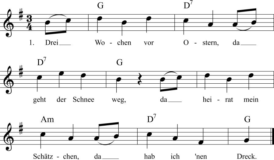 Musiknoten zum Lied Schnaderhüpferl