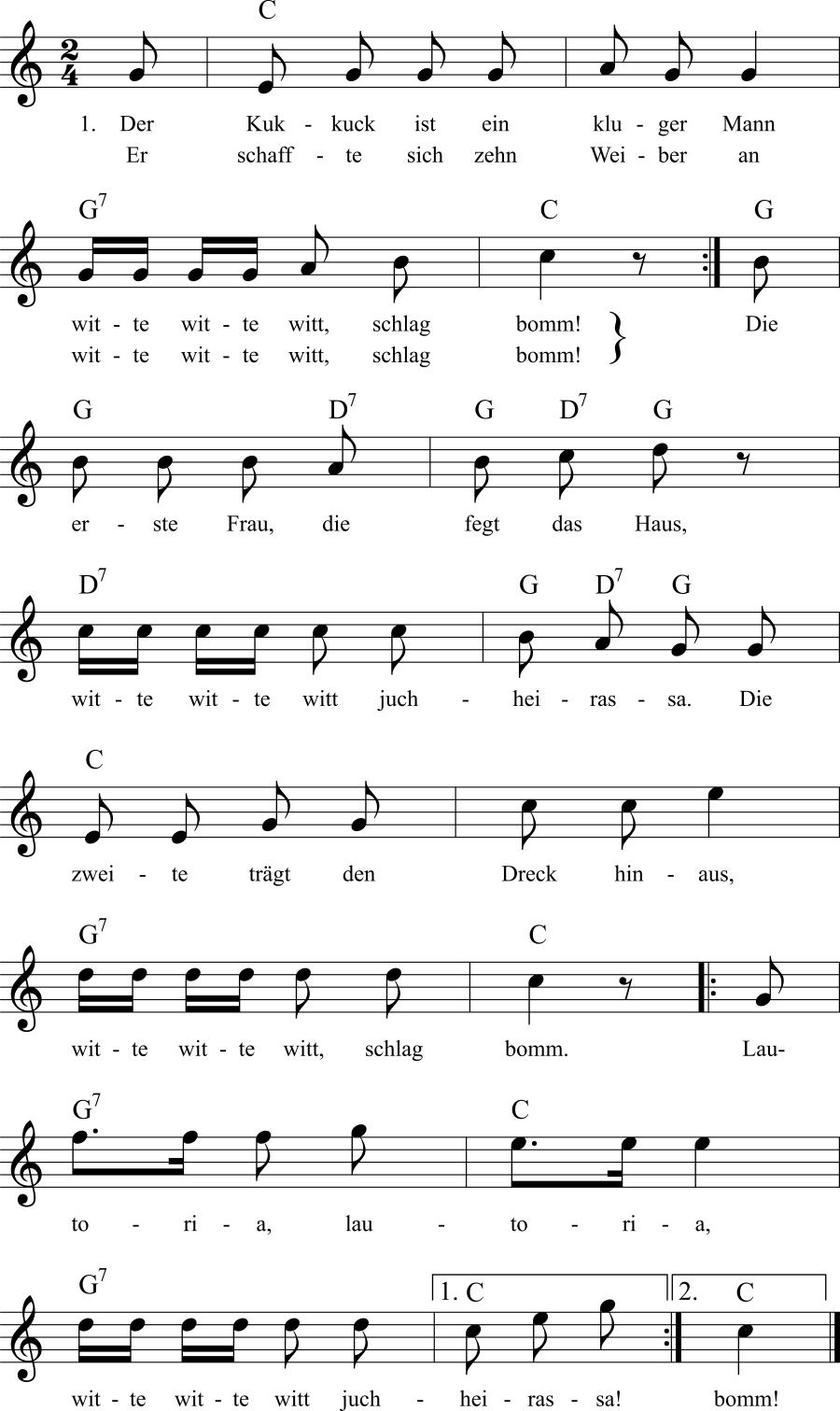 Musiknoten zum Lied Der Kuckuck ist ein kluger Mann