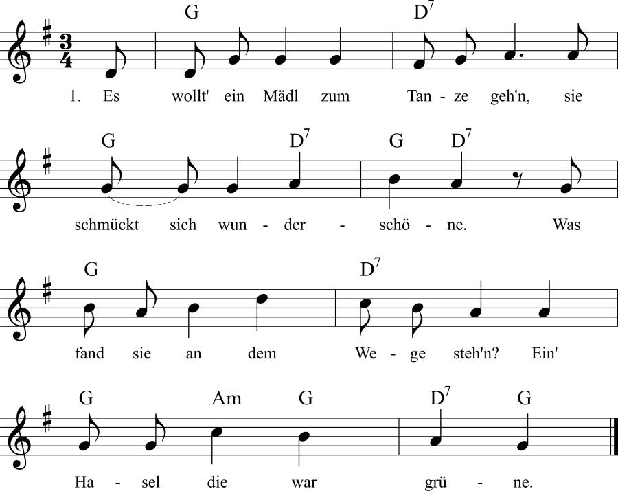 Musiknoten zum Lied Die Hasel am Wege