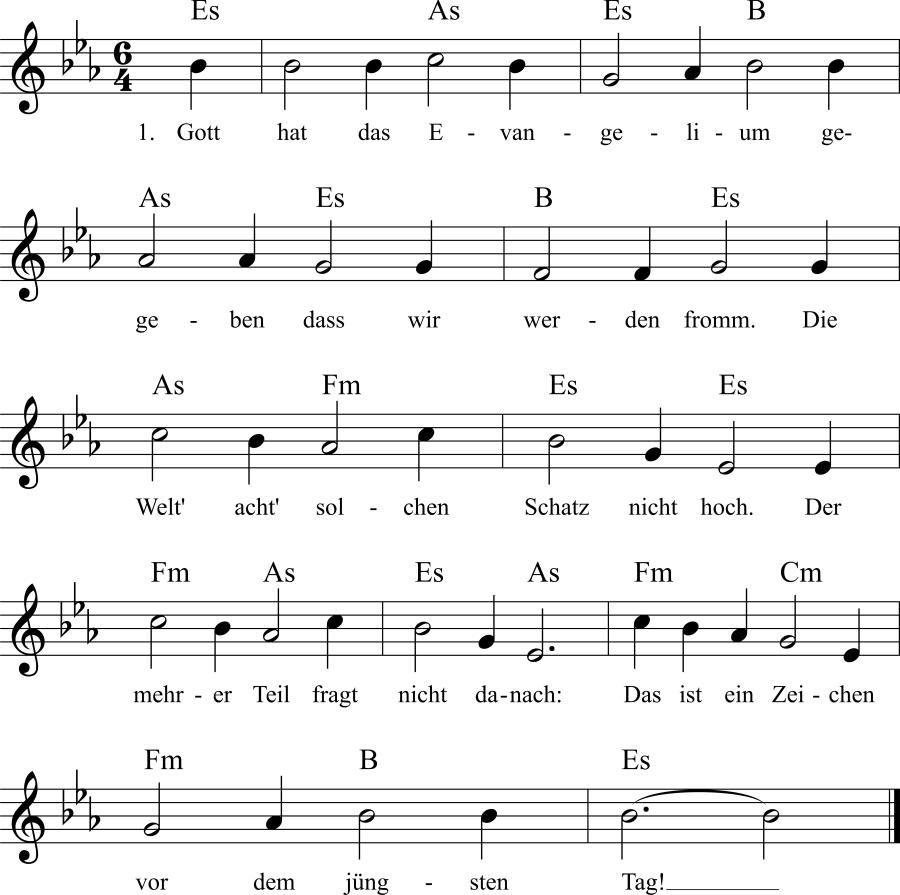 Musiknoten zum Lied Gott hat das Evangelium gegeben