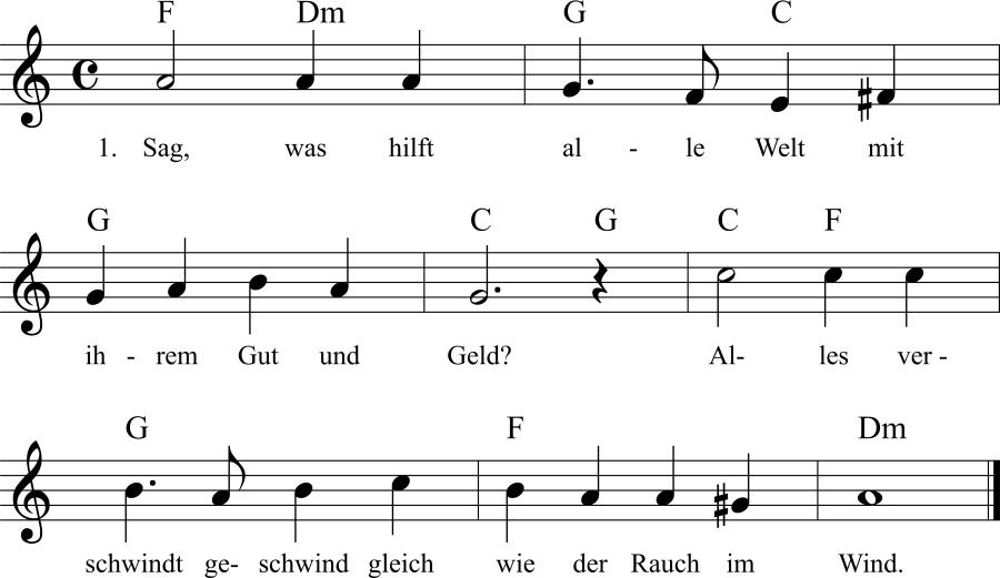 Musiknoten zum Lied Sag, was hilft alle Welt