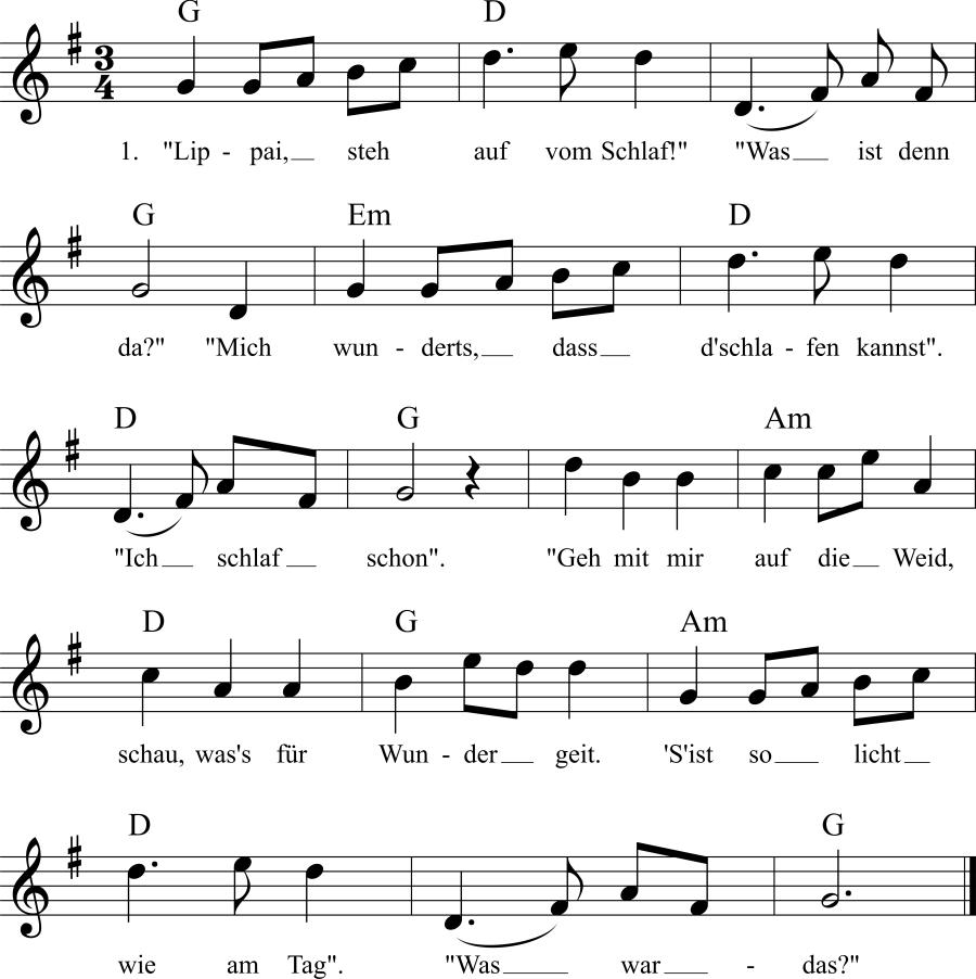 Musiknoten zum Lied Lippai, steh auf vom Schlaf