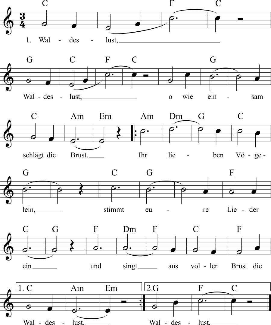 Musiknoten zum Lied Waldeslust