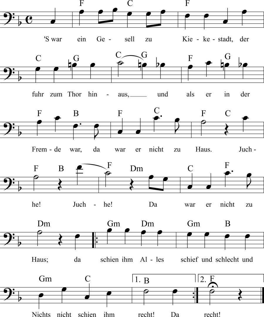 Musiknoten zum Lied 'S war ein Gesell zu Kiekestadt