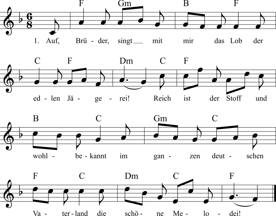 Musiknoten zum Lied Lob der edlen Jägerei