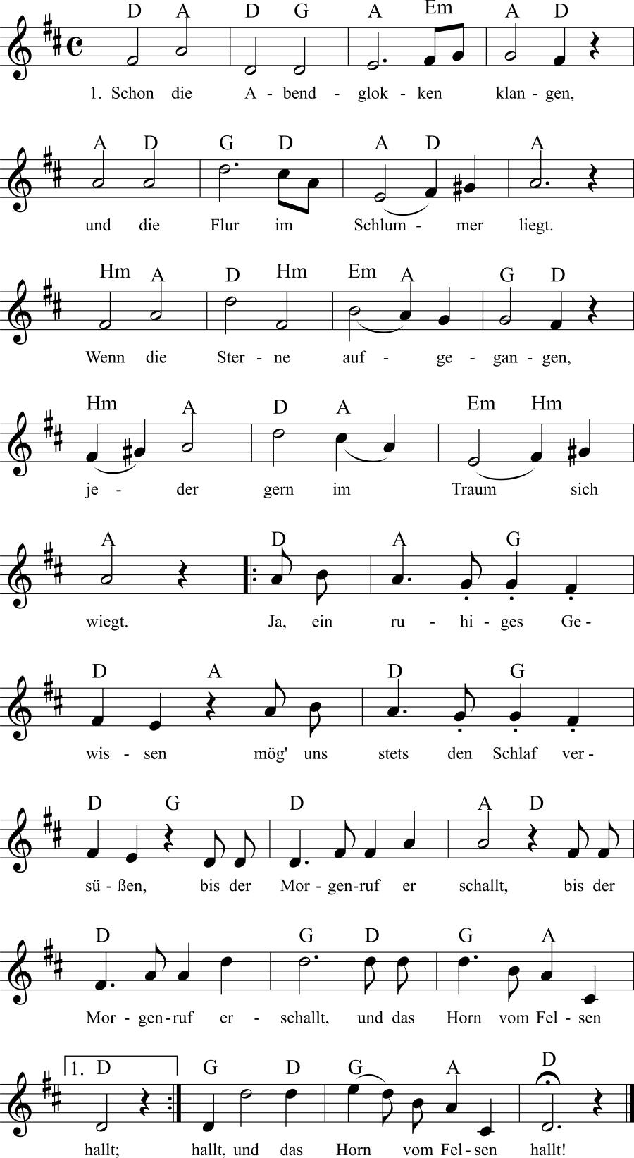Musiknoten zum Lied Abendfrieden