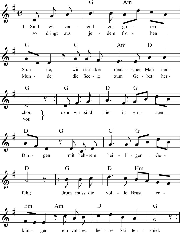 Musiknoten zum Lied Bundeslied