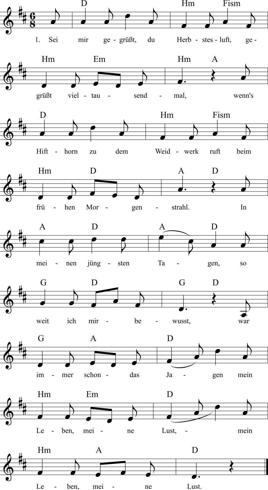 Musiknoten zum Lied Herbstesluft