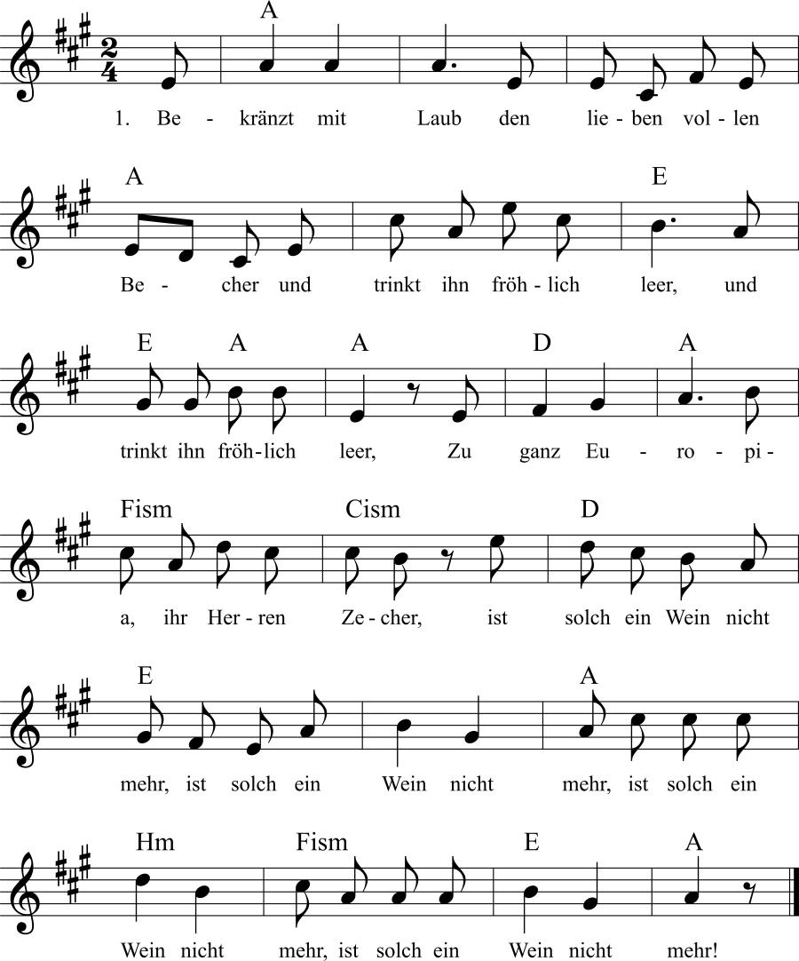 Musiknoten zum Lied Rheinweinlied