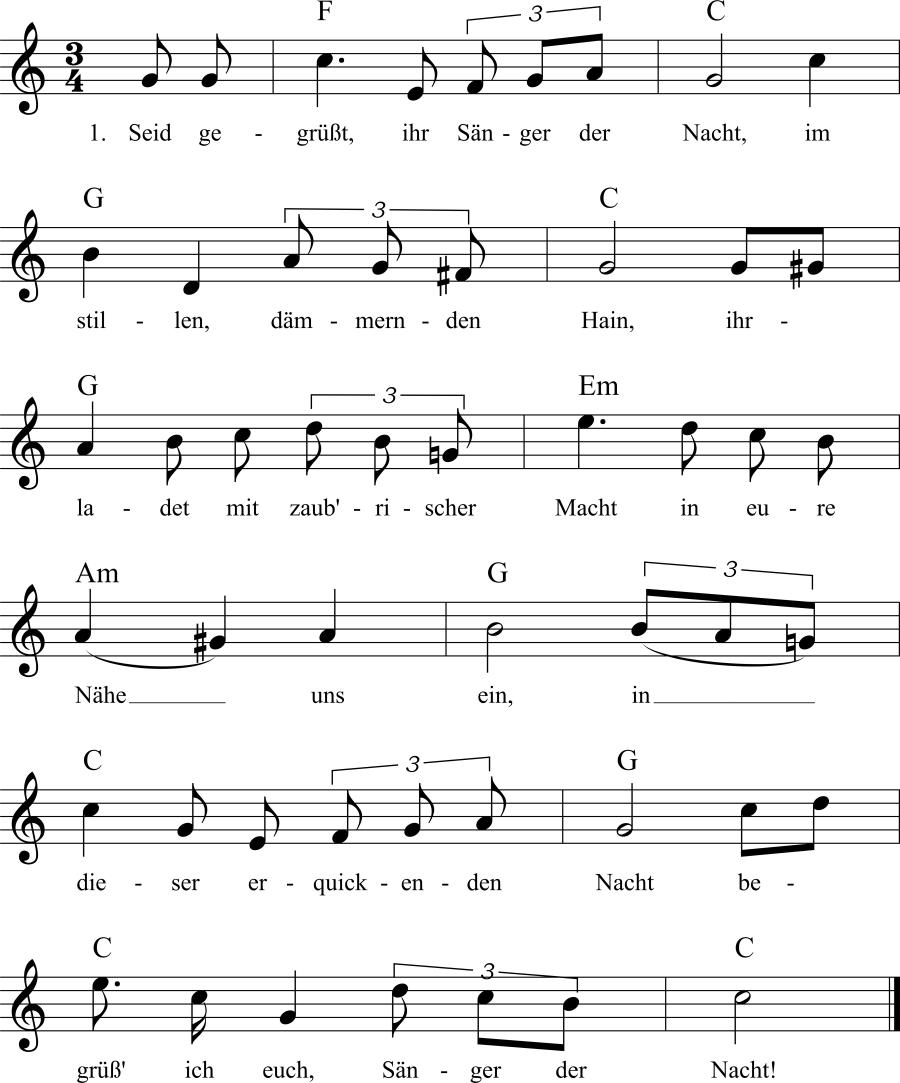 Musiknoten zum Lied Nachtigallengruß