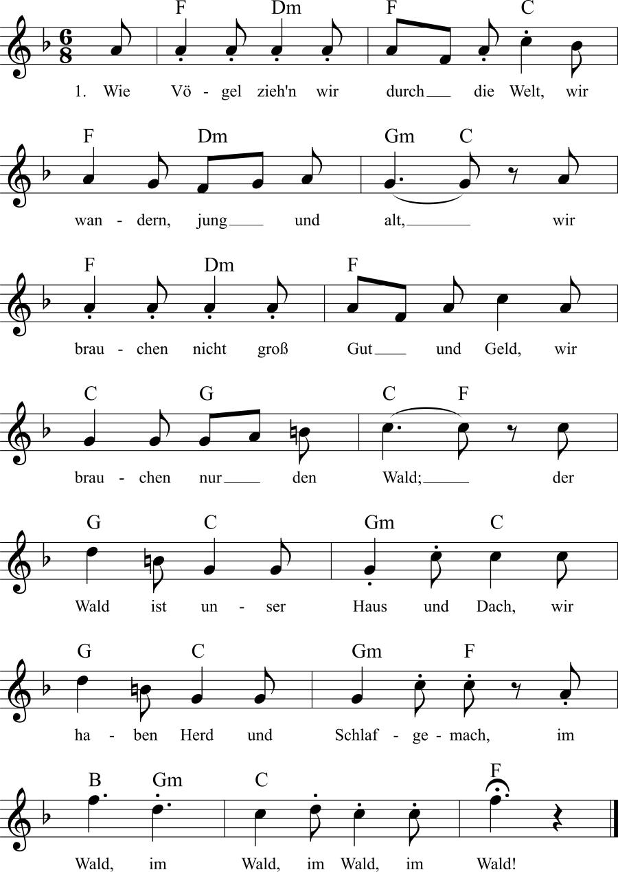 Musiknoten zum Lied Waldleben