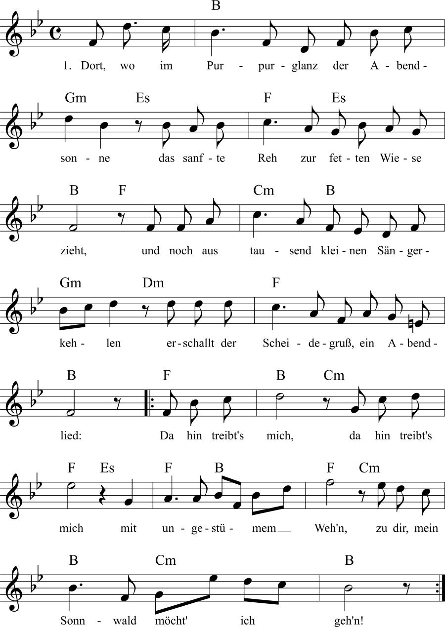 Musiknoten zum Lied Mein Sonnwald