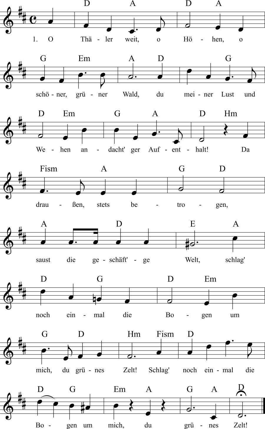 Musiknoten zum Lied Abschied vom Wald