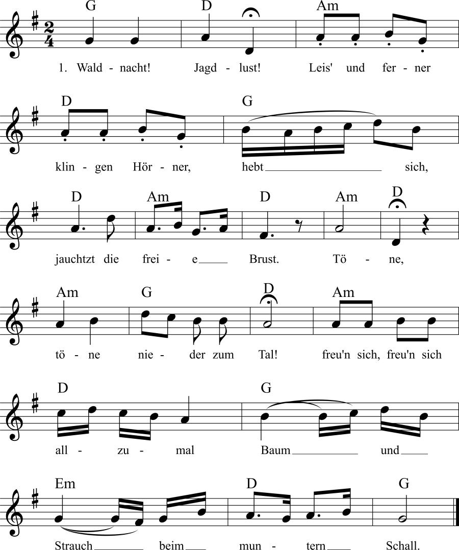 Musiknoten zum Lied Waldnacht! Jagdlust!