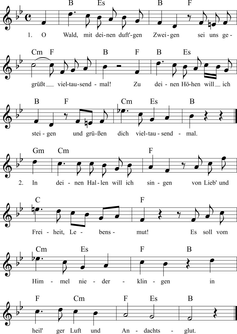 Musiknoten zum Lied Waldesgruß