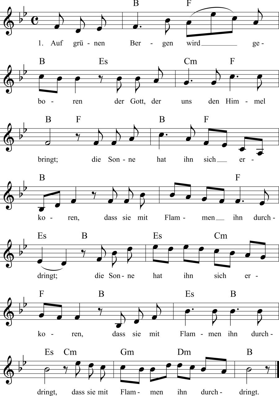 Musiknoten zum Lied Lob des Weines