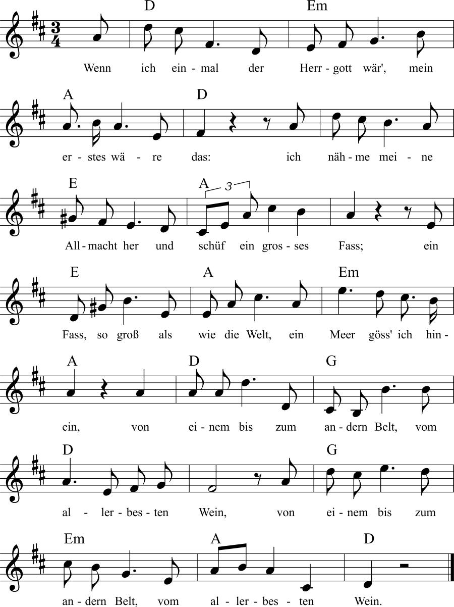 Musiknoten zum Lied Wenn ich einmal der Herrgott wär'