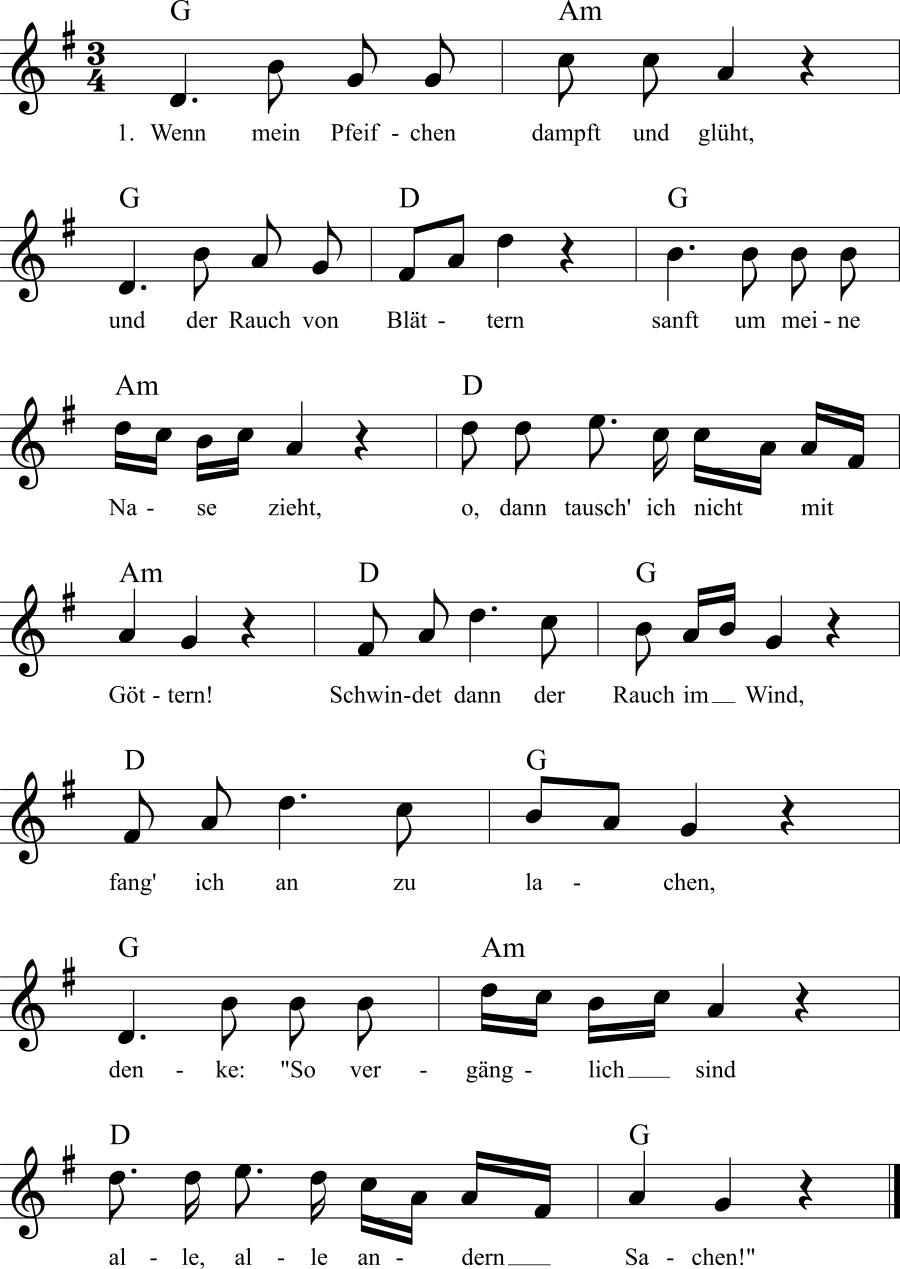 Musiknoten zum Lied Mein Pfeifchen