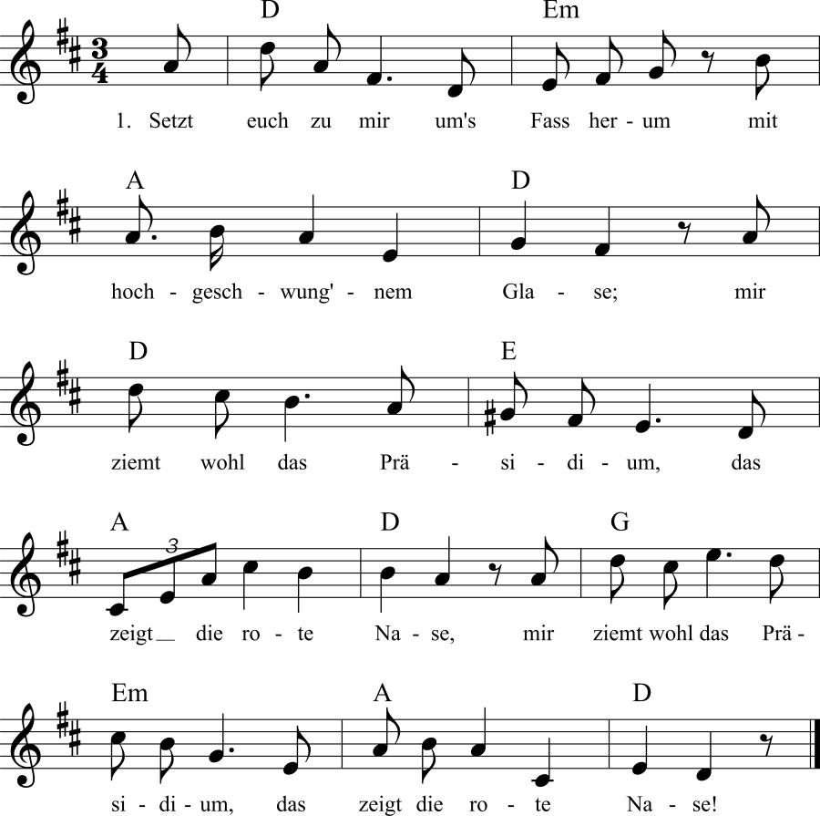 Musiknoten zum Lied Die rote Nase