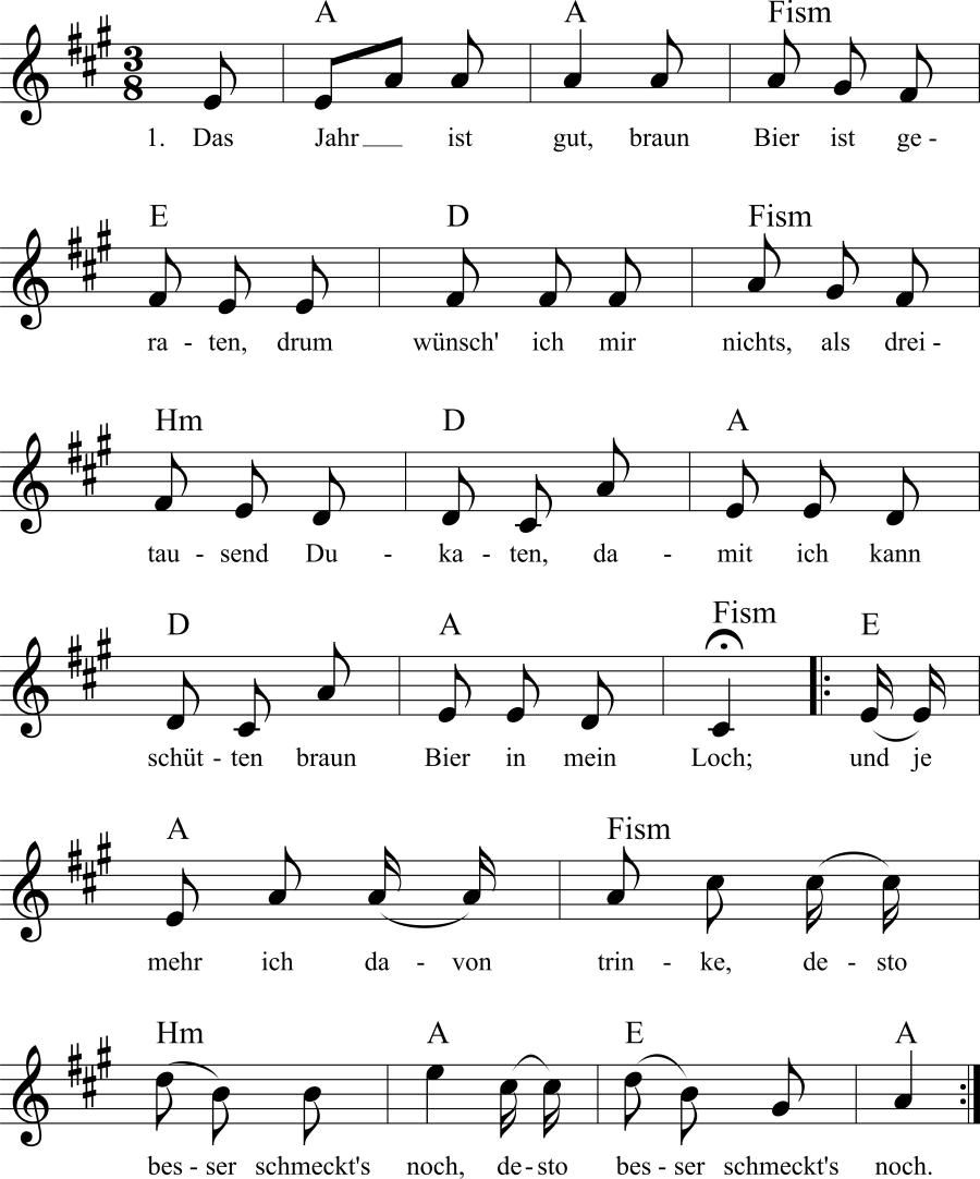 Musiknoten zum Lied Das gute Bierjahr