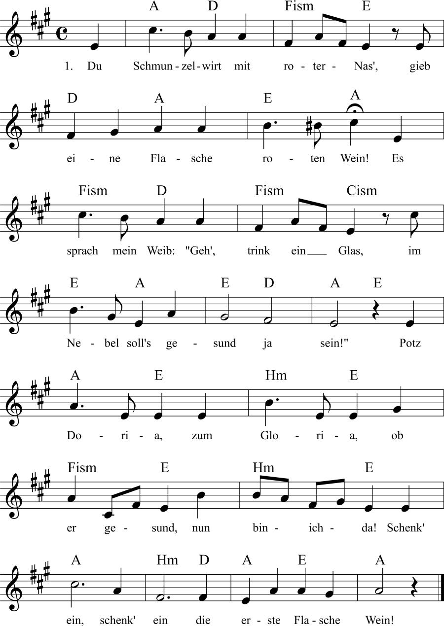 Musiknoten zum Lied Philisterlied