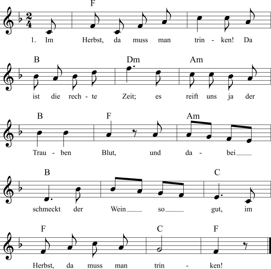 Musiknoten zum Lied Wann muß man trinken?