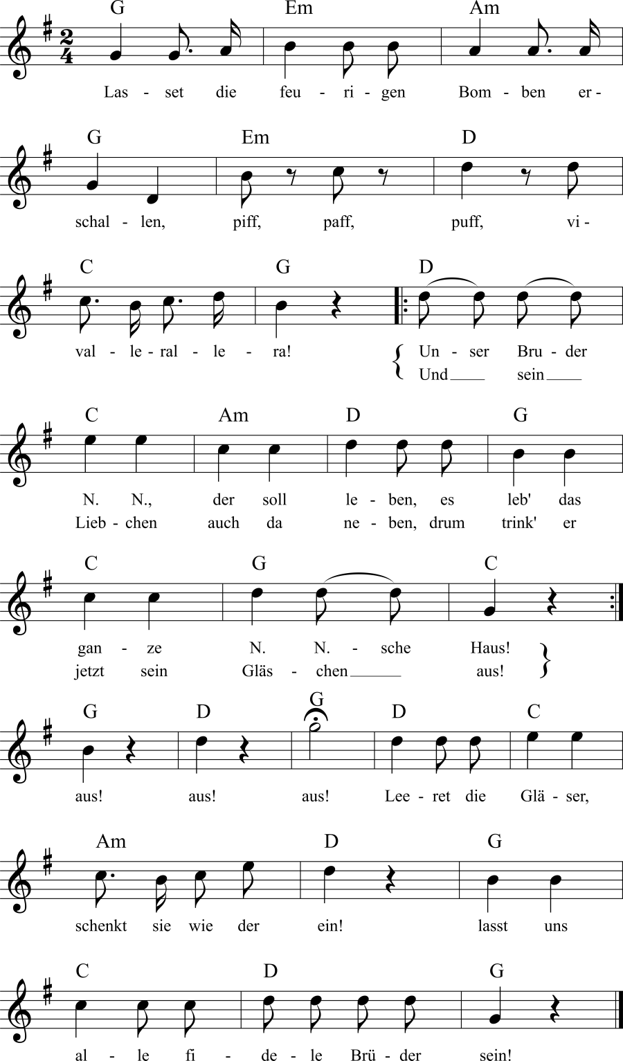 Musiknoten zum Lied Trinkspruch