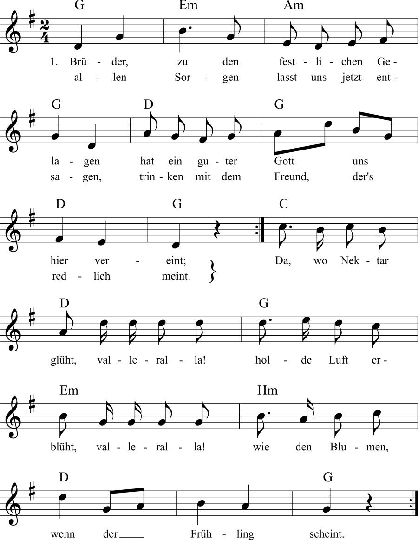 Musiknoten zum Lied Festgelage