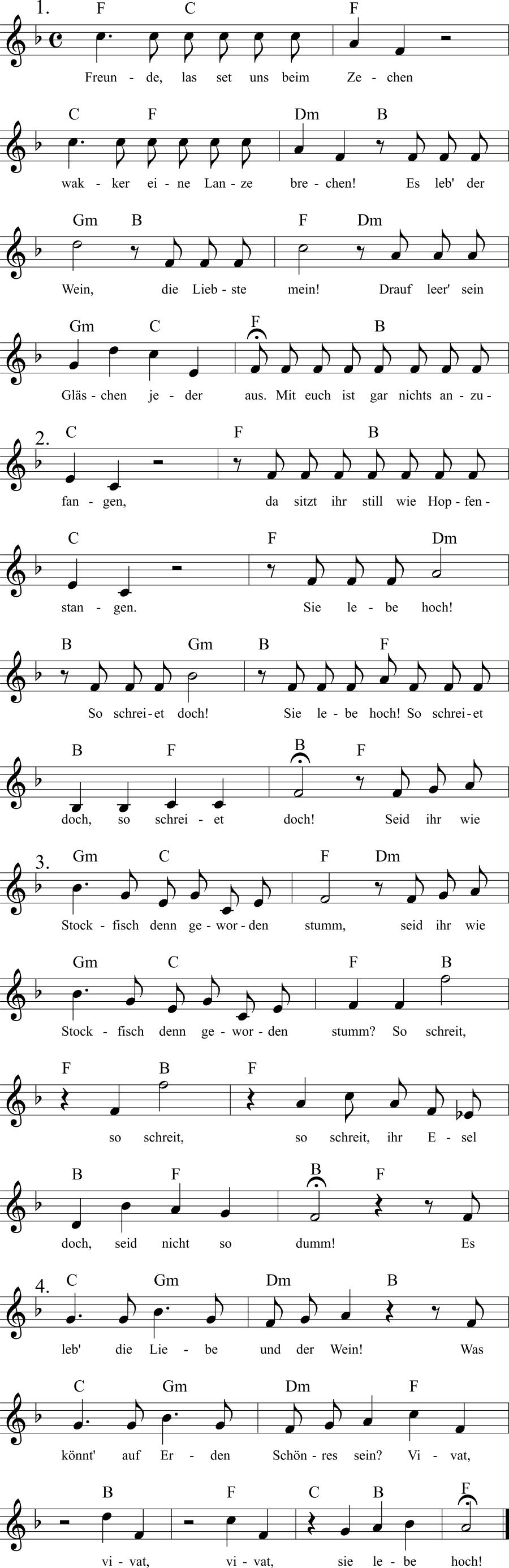 Musiknoten zum Lied Freunde, lasset uns beim Zechen