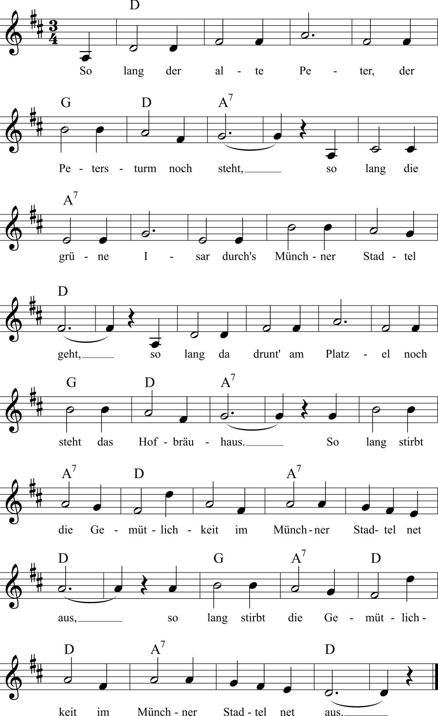 Musiknoten zum Lied Solang der alte Peter