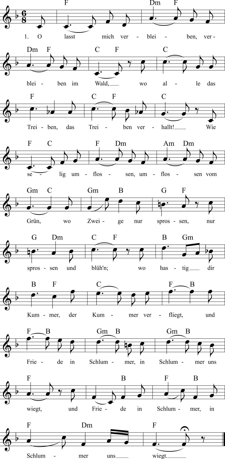 Musiknoten zum Lied Im Walde