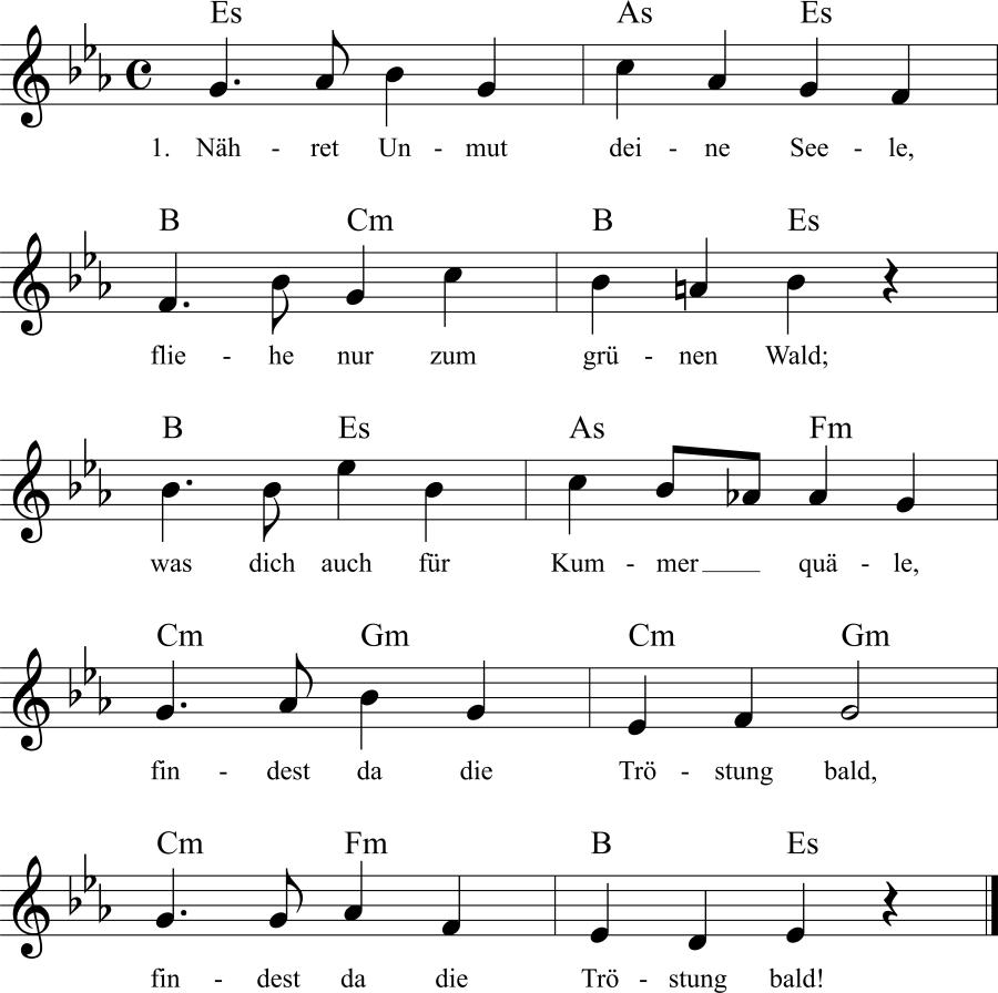 Musiknoten zum Lied Waldestrost