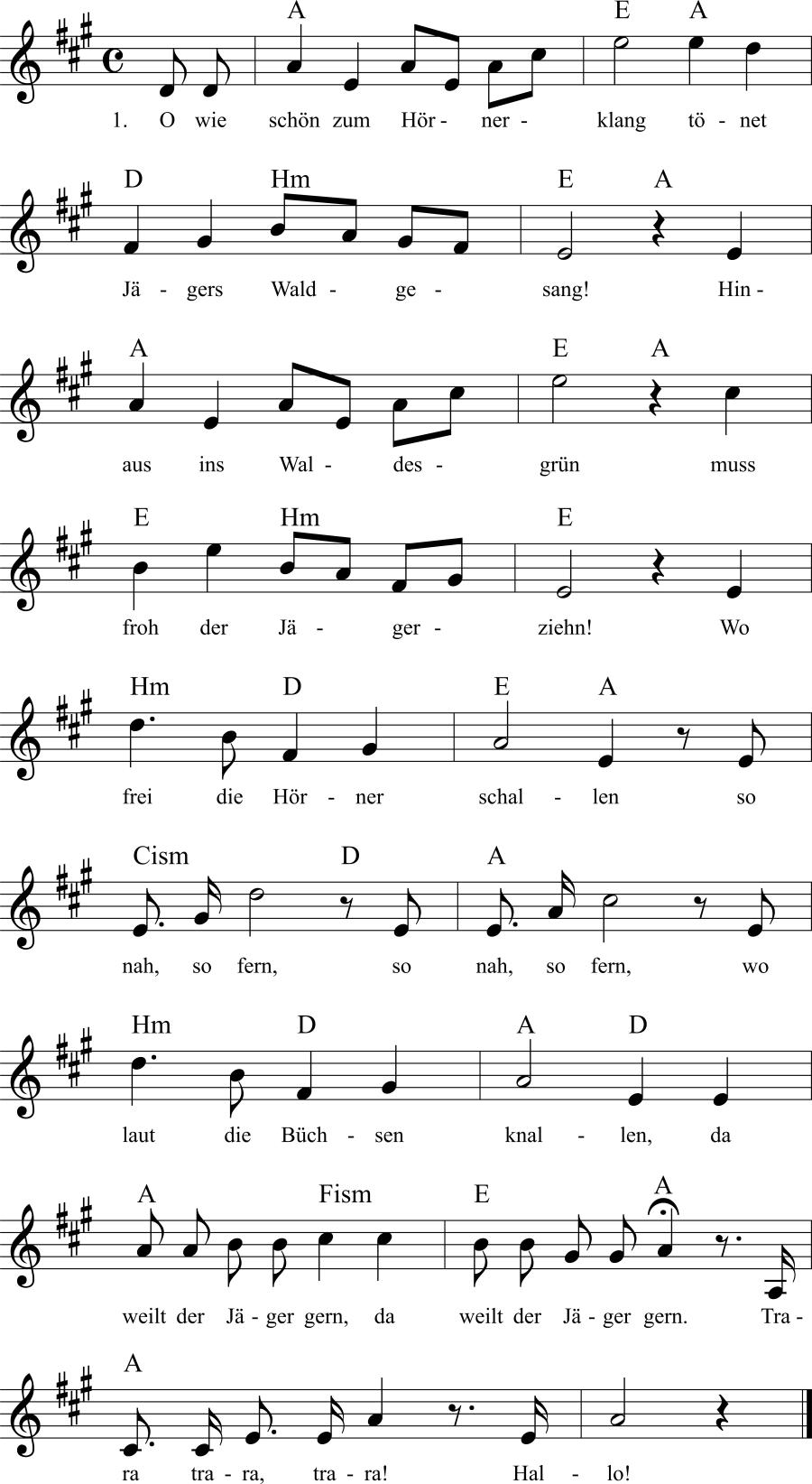 Musiknoten zum Lied Jägers Waldgesang