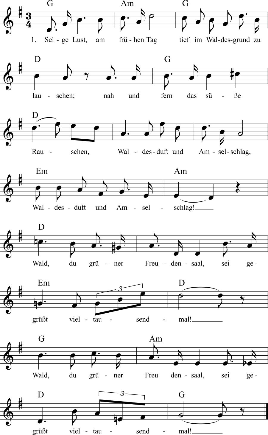 Musiknoten zum Lied Tief im Waldesgrund
