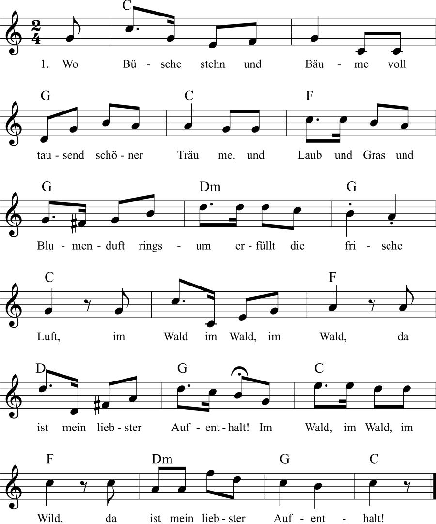Musiknoten zum Lied Wo Büsche stehn und Bäume