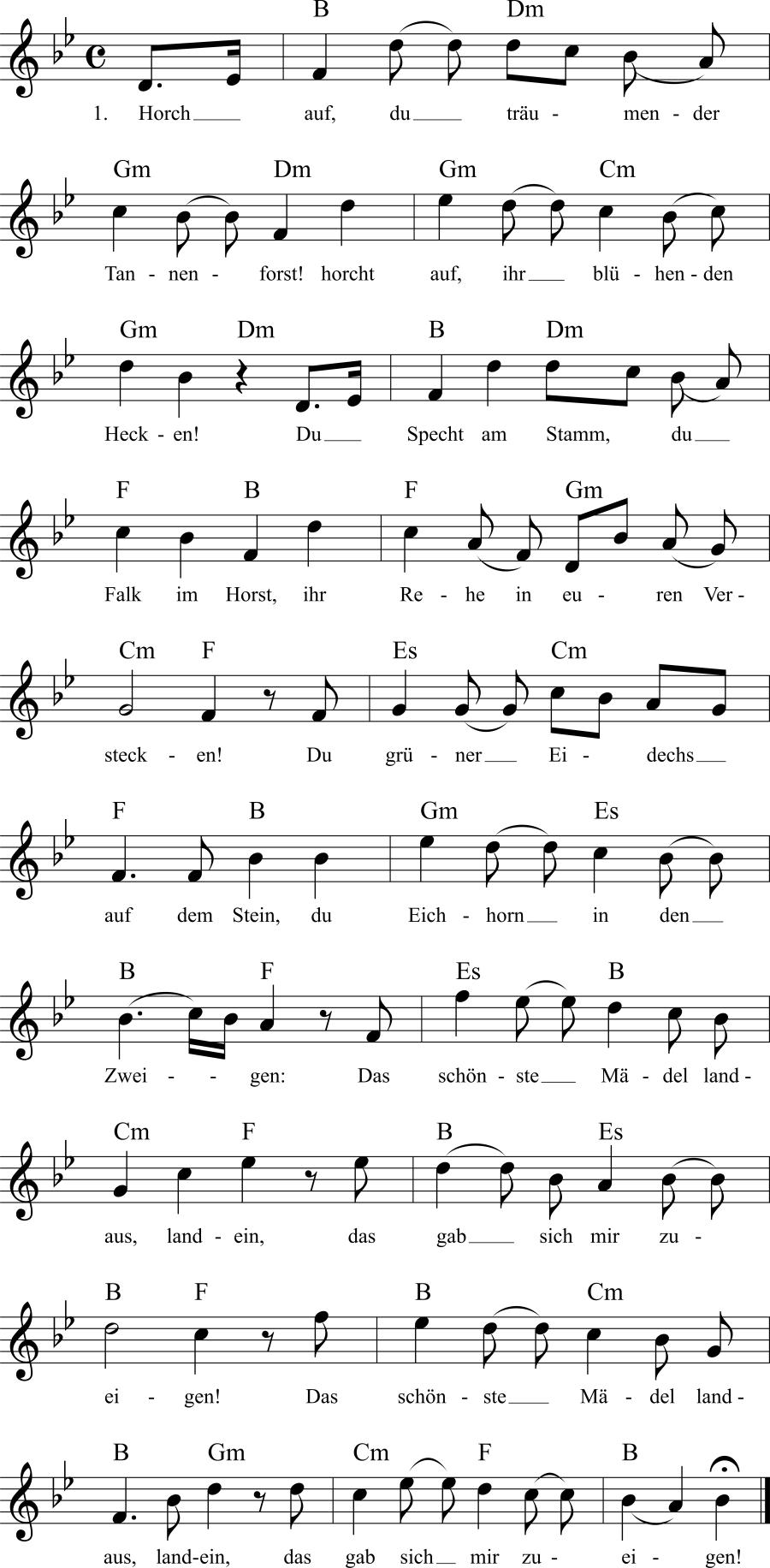 Musiknoten zum Lied Horch auf, du träumender Tannenforst