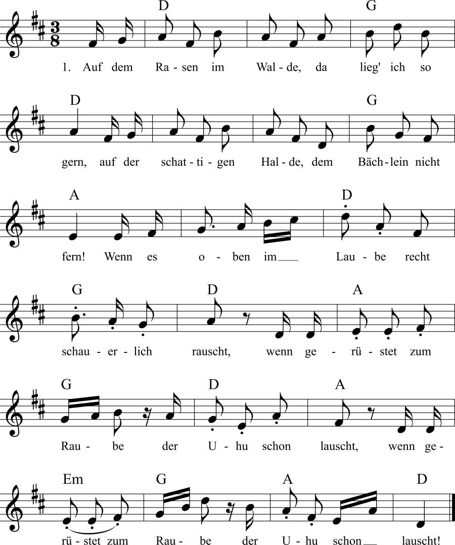 Musiknoten zum Lied Der Wald
