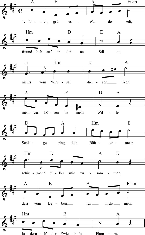 Musiknoten zum Lied Nimm mich, grünes Waldeszelt