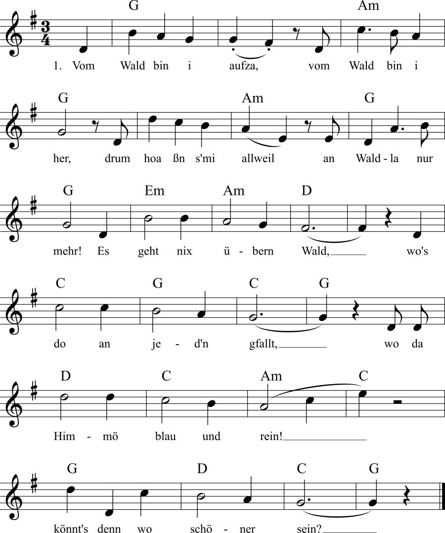Musiknoten zum Lied Vom Wald bin aufza