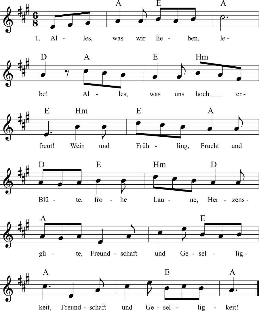 Musiknoten zum Lied Alles, was wir lieben, lebe!
