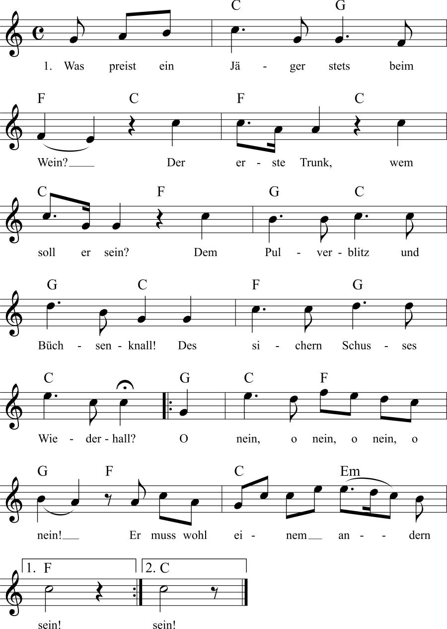 Musiknoten zum Lied Was preist ein Jäger stets beim Wein?