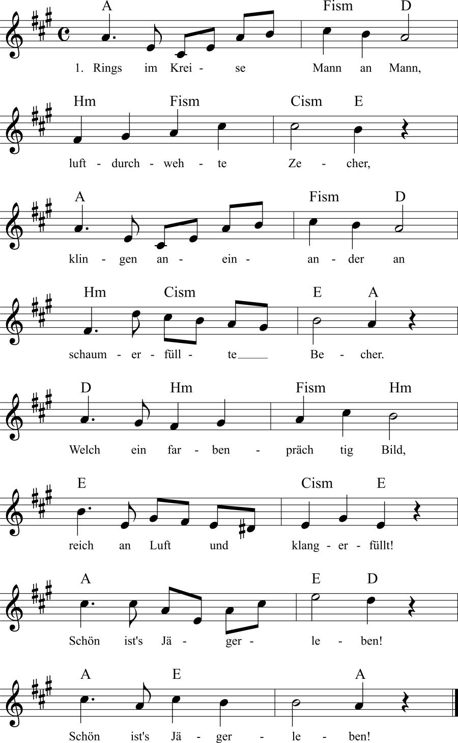 Musiknoten zum Lied Nach der Jagd