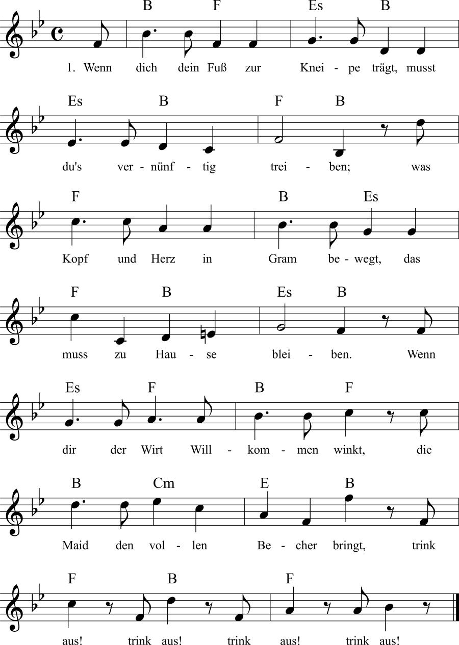 Musiknoten zum Lied Wenn dich dein Fuß zur Kneipe trägt