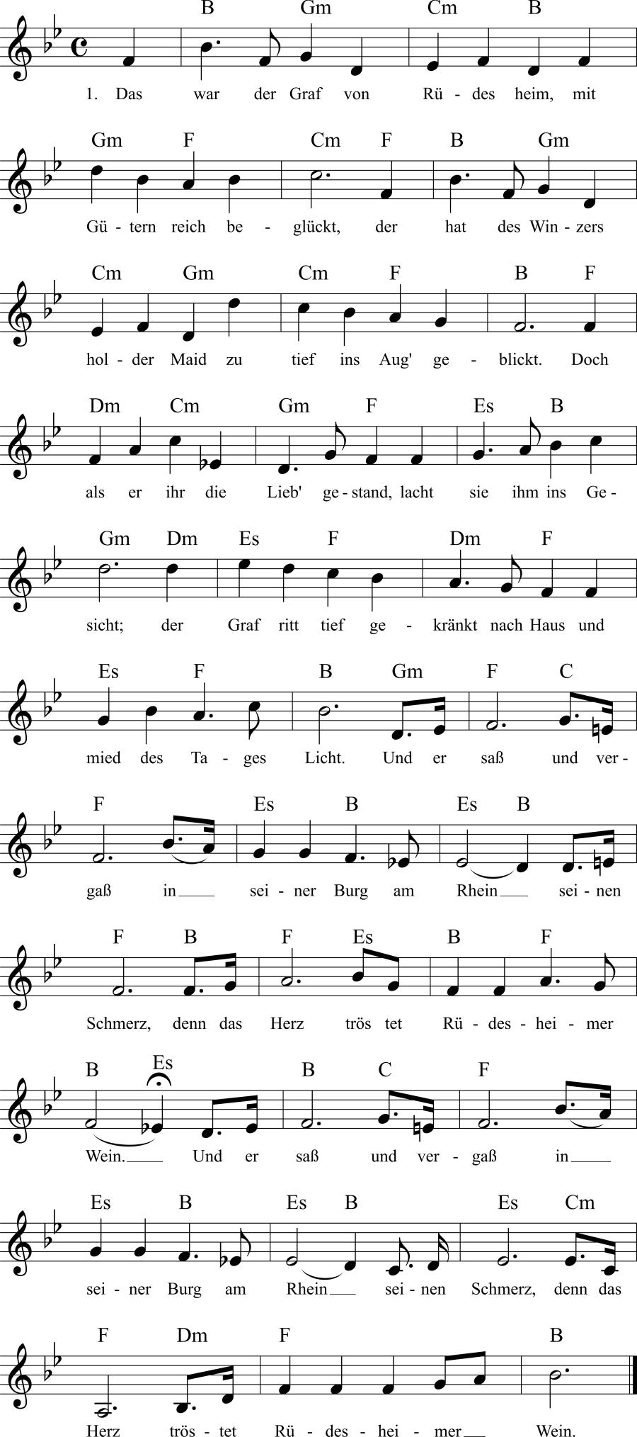 Musiknoten zum Lied Der Graf von Rüdesheim