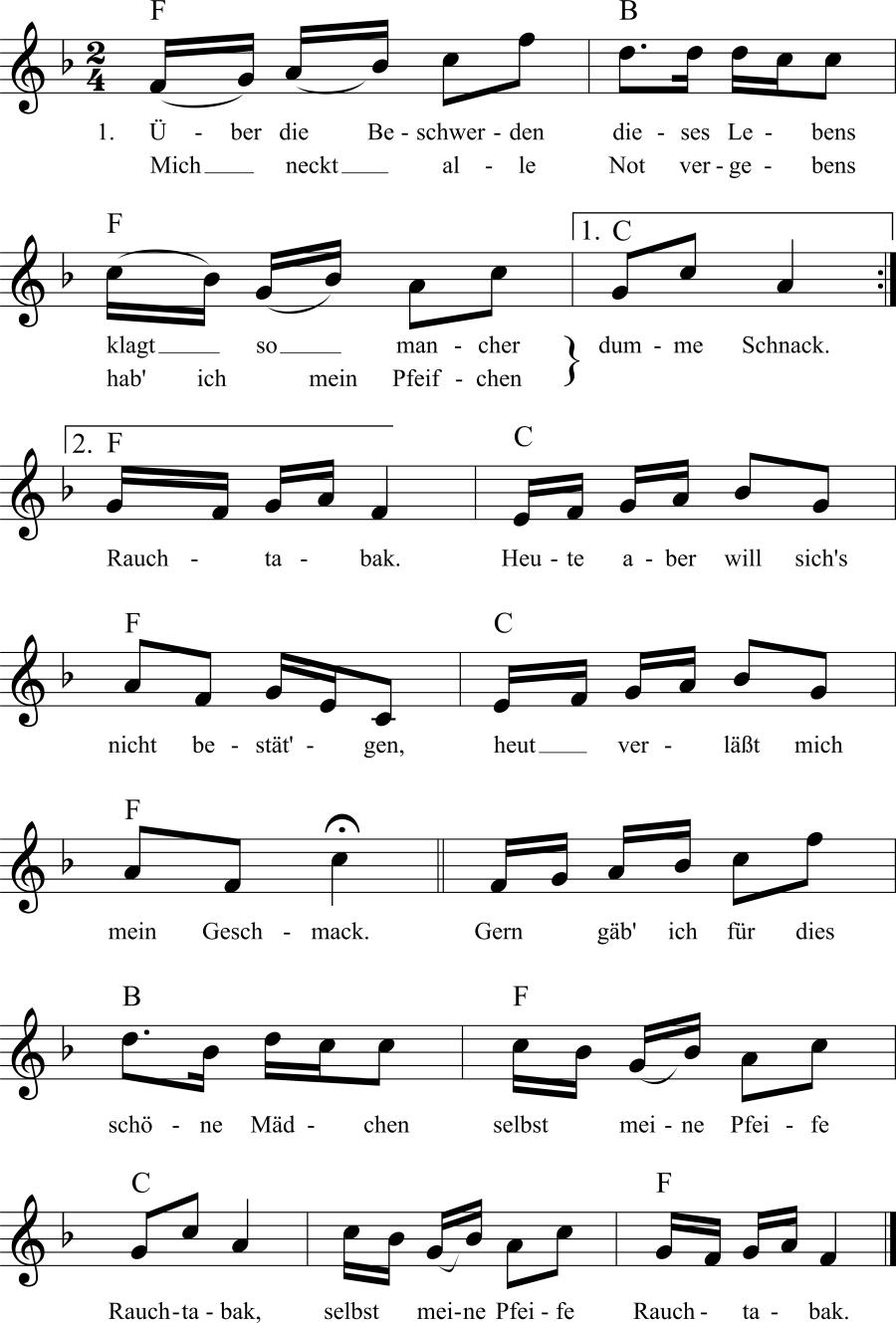Musiknoten zum Lied Mein Pfeifchen Rauchtabak