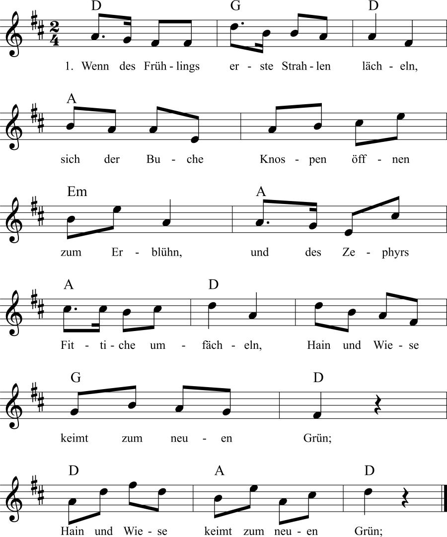 Musiknoten zum Lied Wenn des Frühlings erste Strahlen lächeln