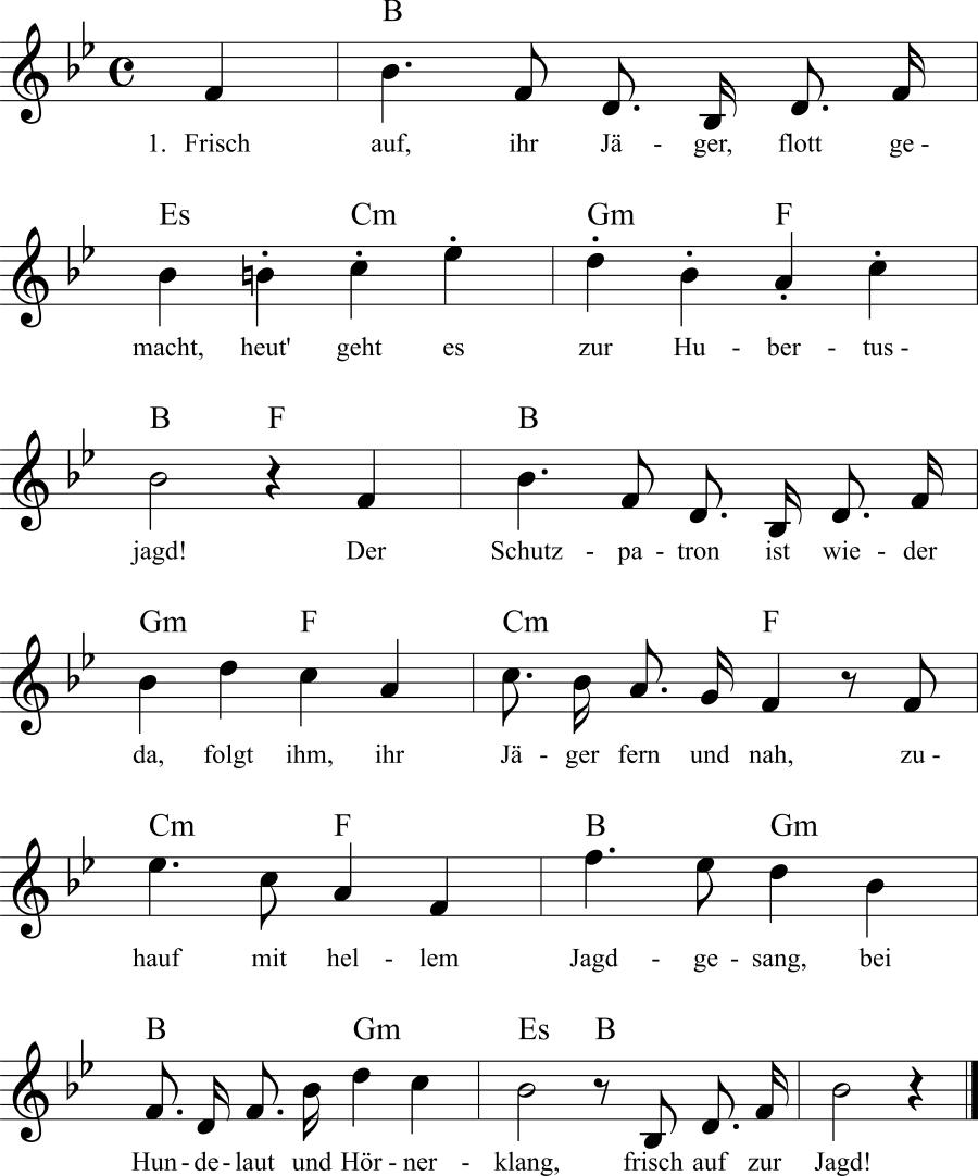 Musiknoten zum Lied Frisch auf, ihr Jäger, flott gemacht